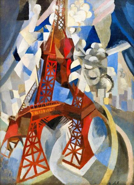Smoke Fantasy Wall Art - Painting - Digital Remastered Edition - Red Tour Eiffel by Robert Delaunay
