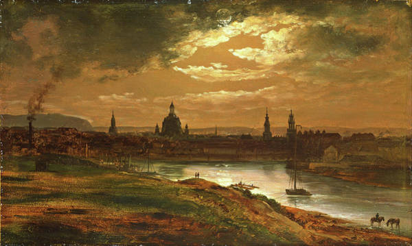 Wall Art - Painting - Dresden By Moonlight - Digital Remastered Edition by Johan Christian Dahl