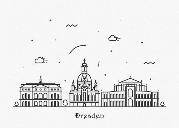 Landmark Center Drawing - Dresden Cityscape Travel Poster by Inspirowl Design