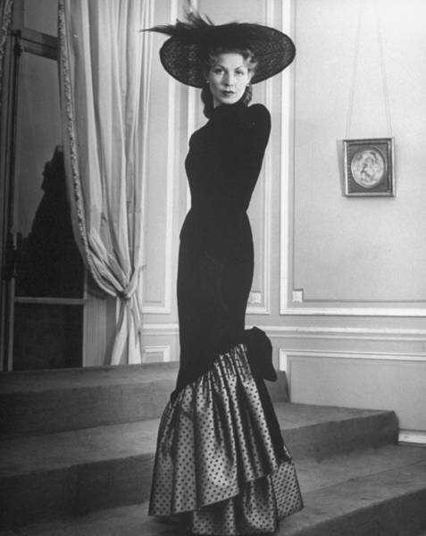 Photograph - Dress Designed By Jacques Fath by Nina Leen