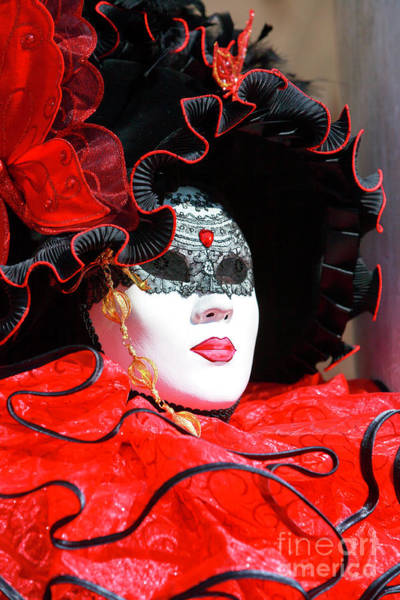Photograph - Dressed In Red At Carnevale Di Venezia by John Rizzuto