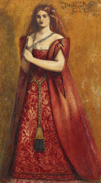 Wall Art - Painting - Dressed In Red by Dante Gabriel Rossetti