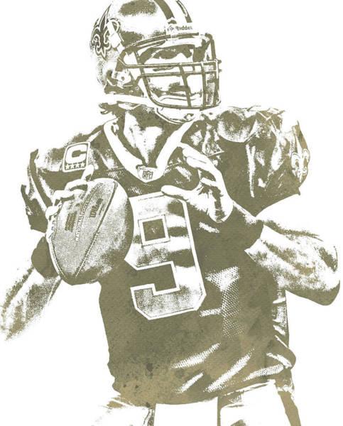 Catholic Mixed Media - Drew Brees New Orleans Saints Water Color Pixel Art 30 by Joe Hamilton