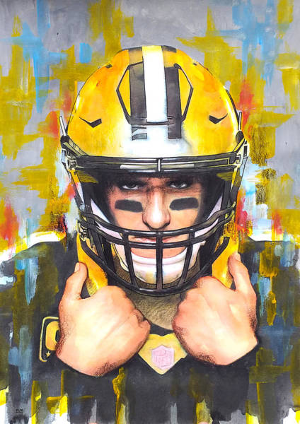 Football Players Wall Art - Painting - Drew Brees by Wachira Kacharat