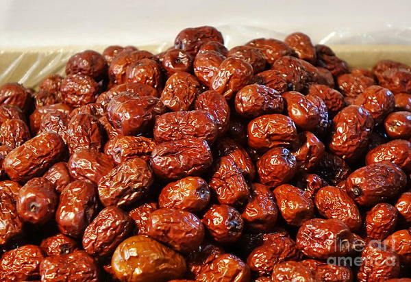 Wall Art - Photograph - Dried Chinese Red Dates by Yali Shi