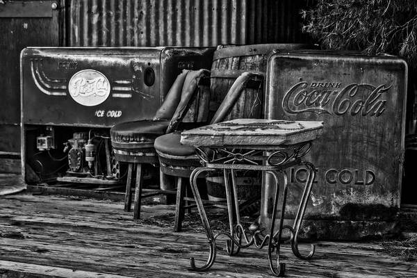 Photograph - Drink Pepsi Cola And Coca Cola Bw by Susan Candelario