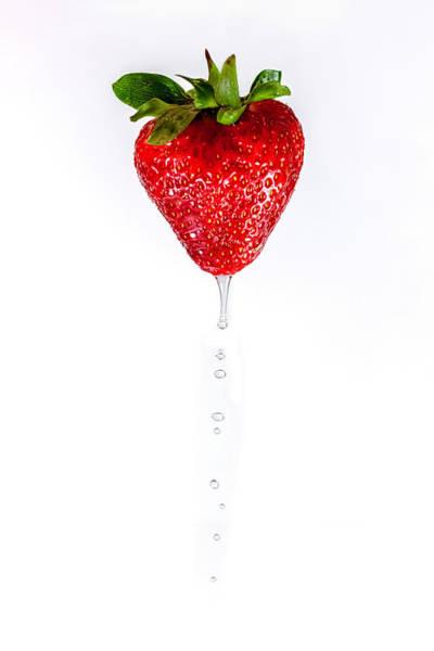 Wall Art - Photograph - Dripping Strawberry by Sandi Kroll