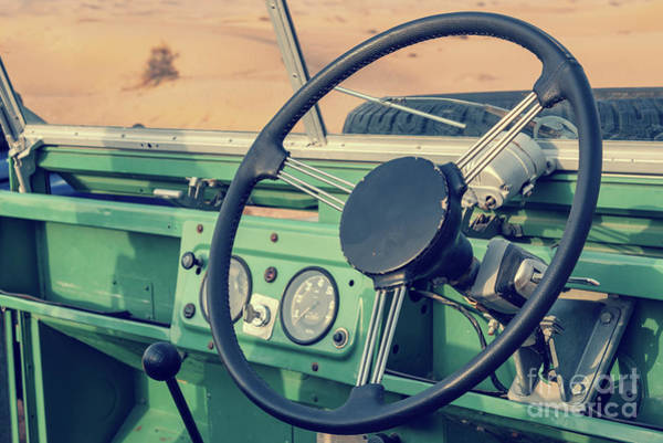 Green Car Photograph - Driving A Vintage 4x4 Car by Delphimages Photo Creations