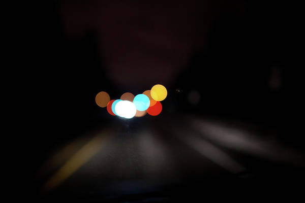 Driving Photograph - Driving At Night With Colourful Lights by Allen Donikowski