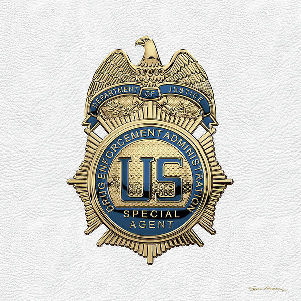 Digital Art - Drug Enforcement Administration -  D E A  Special Agent Badge Over White Leather by Serge Averbukh