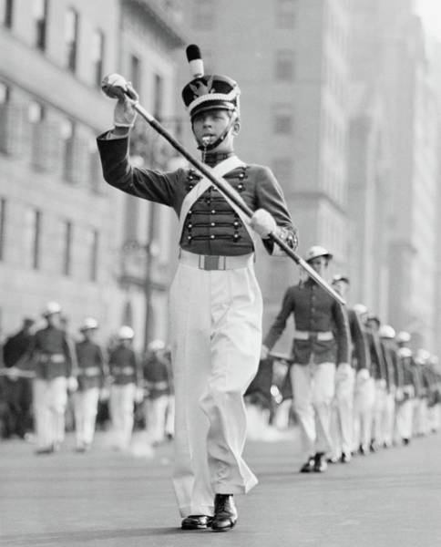 Wall Art - Photograph - Drum Major Leading Parade In by George Marks