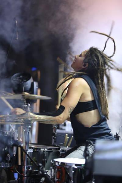 Dredlocks Photograph - Drummer At Music Fights Back 2018 by Scott Boylen
