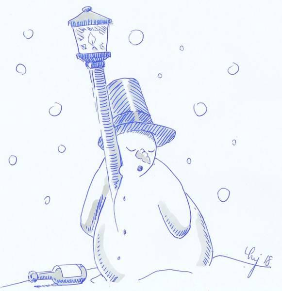 Drawing - Drunk Snowman Sleeping Christmas Cartoon by Mike Jory