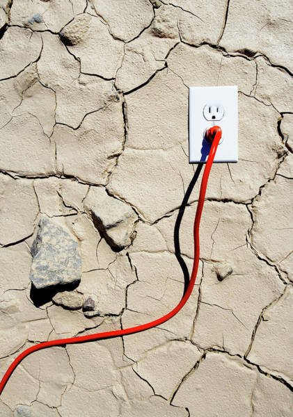 Cracked Photograph - Dry Earth And Electrical Outlet With by Thomas Northcut
