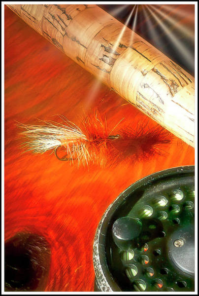 Photograph - Dry Fly, Fly Rod And Reel by A Gurmankin