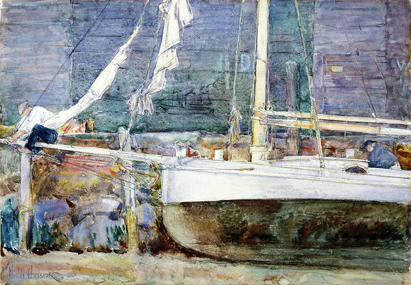 Wall Art - Painting - Drydock, Gloucester - Digital Remastered Edition by Frederick Childe Hassam