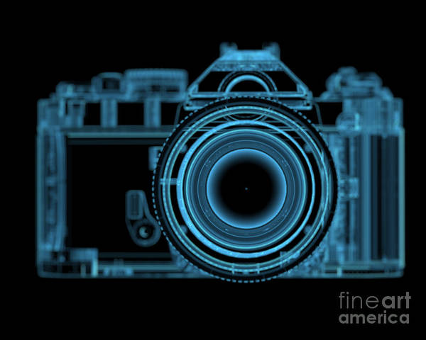 Dark Blue Digital Art - Dslr Slr Camera 3d Xray Blue Transparent by X-ray Pictures
