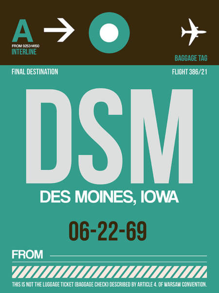 Wall Art - Digital Art - Dsm Des Moines Luggage Tag II by Naxart Studio