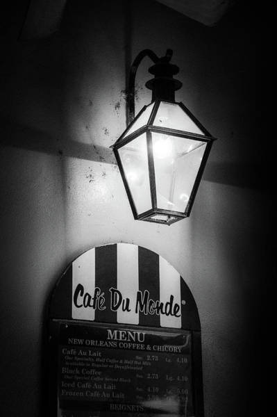 Wall Art - Photograph - Du Monde Menu In Black And White by Greg and Chrystal Mimbs