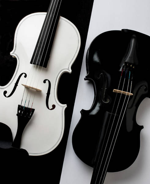 Wall Art - Photograph - Dual Violins In Black And White  by Garry Gay
