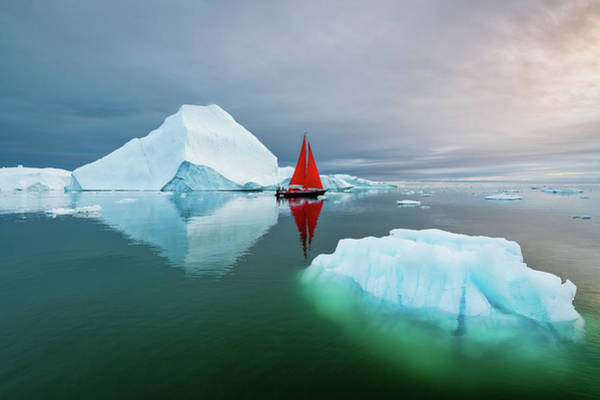 Photograph - Dualing Icebergs by Michael Blanchette