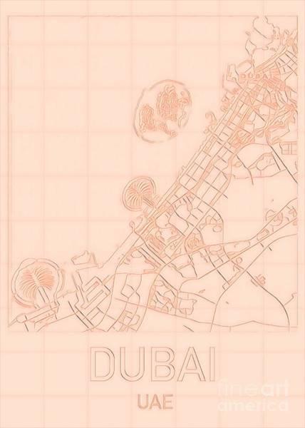 Digital Art - Dubai Blueprint City Map by Helge