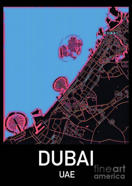 Digital Art - Dubai City Map by Helge