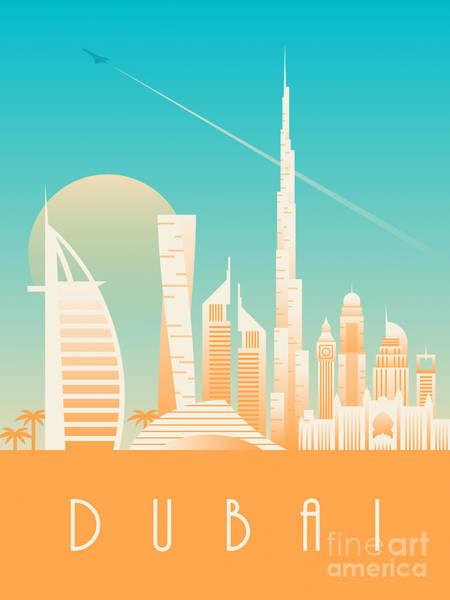 Wall Art - Digital Art - Dubai City Skyline Retro Art Deco Tourism - Day by Ivan Krpan