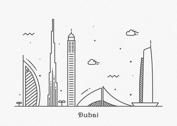 Wall Art - Drawing - Dubai Cityscape Travel Poster by Inspirowl Design