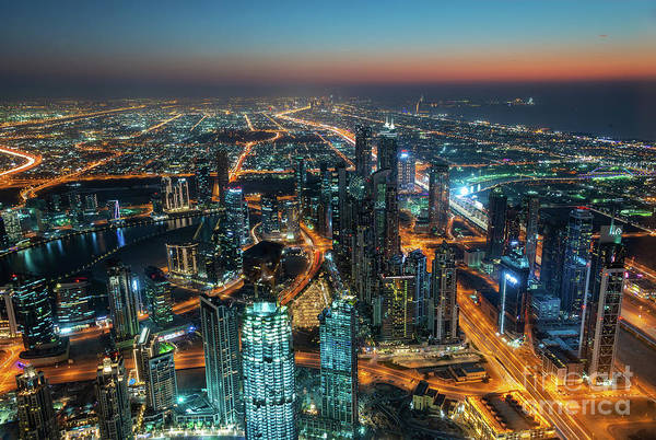 Wall Art - Photograph - Dubai From Burj Khalifa At Night by Delphimages Photo Creations