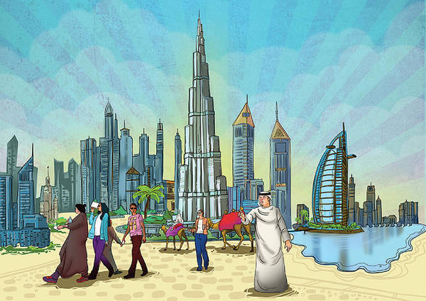 Painting - Dubai Illustration  by Arttantra