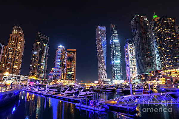 Wall Art - Photograph - Dubai Marina At Night by Delphimages Photo Creations