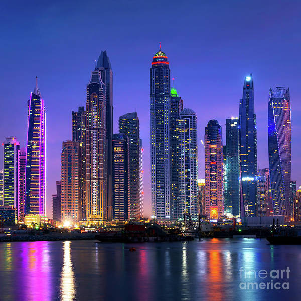 Wall Art - Photograph - Dubai Marina Skyline At Night by Delphimages Photo Creations