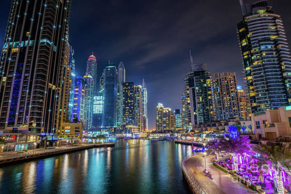 Wall Art - Photograph - Dubai Marina Walk At Night by Delphimages Photo Creations