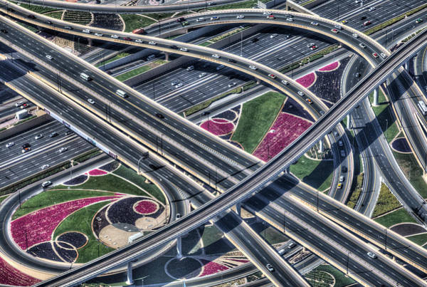 Wall Art - Photograph - Dubai Motorways From The Air by David Pyatt