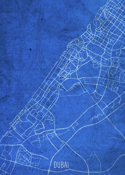 Wall Art - Mixed Media - Dubai United Arab Emirates City Street Map Blueprints by Design Turnpike