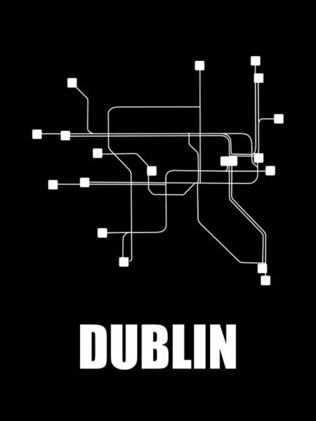 Wall Art - Digital Art - Dublin Black Watercolor Map by Naxart Studio