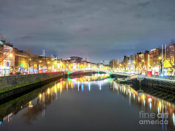 Wall Art - Photograph - Dublin City Night Lights Along The River Liffey by John Rizzuto