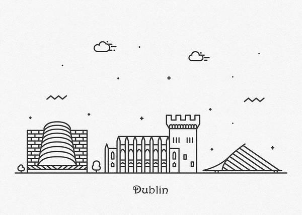 Landmark Center Drawing - Dublin Cityscape Travel Poster by Inspirowl Design