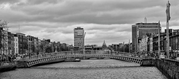 Wall Art - Photograph - Dublin Ireland - Ha Penny Bridge In Black And White by Bill Cannon