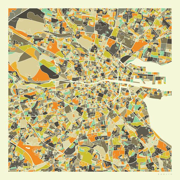 City Map Wall Art - Digital Art - Dublin Map 1 by Jazzberry Blue
