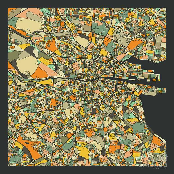 Wall Art - Digital Art - Dublin Map 2 by Jazzberry Blue
