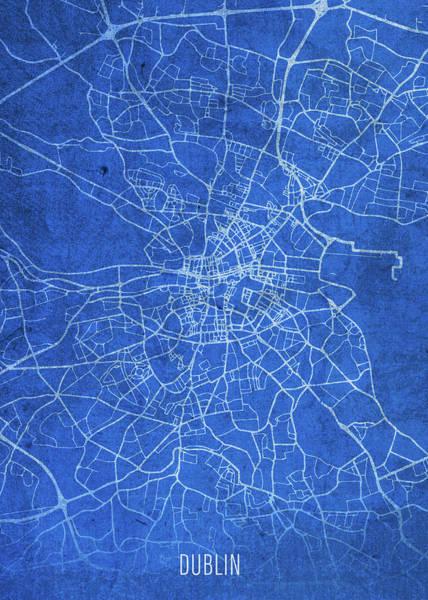 Wall Art - Mixed Media - Dublin Republic Of Ireland City Street Map Blueprints by Design Turnpike