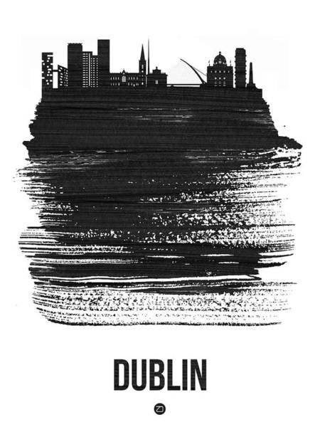 Wall Art - Mixed Media - Dublin Skyline Brush Stroke Black by Naxart Studio