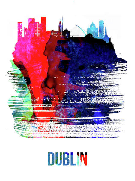 Wall Art - Mixed Media - Dublin Skyline Brush Stroke Watercolor   by Naxart Studio
