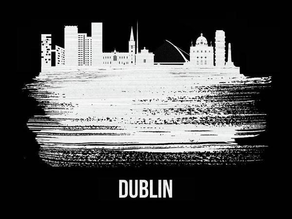 Wall Art - Mixed Media - Dublin Skyline Brush Stroke White by Naxart Studio