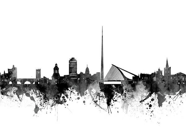 Wall Art - Digital Art - Dublin Skyline Bw by Bekim M