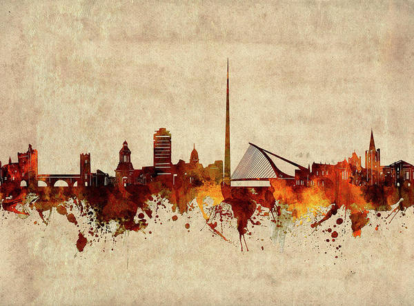 Wall Art - Digital Art - Dublin Skyline Sepia by Bekim M