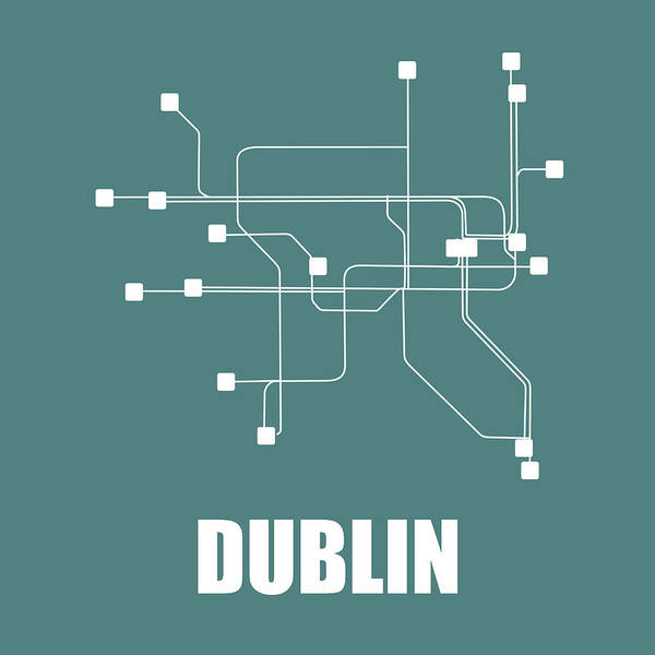 Wall Art - Digital Art - Dublin Teal Subway Map by Naxart Studio