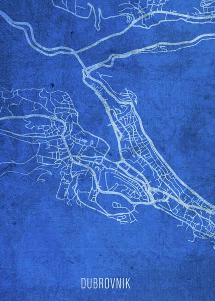 Wall Art - Mixed Media - Dubrovnik Croatia City Street Map Blueprints by Design Turnpike